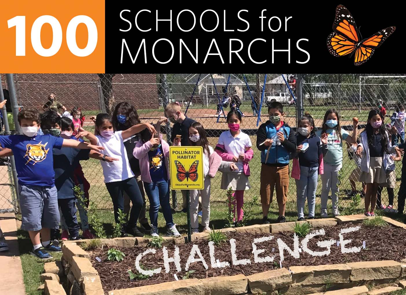 Students at Mark Twain Elementary in OKC after planting their pollinator garden.